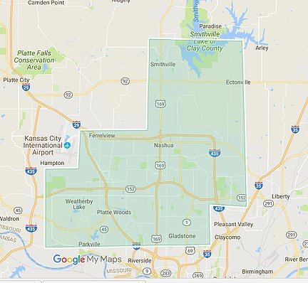 Pro Mow Kansas City and Smithville MO Service Area Map